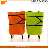 China Supplier Supermarket Folding Shopping Cart Bag with Wheels