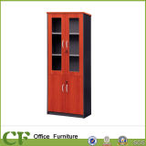 Economic Office Storage Cabinet Wood Frame Glass Door Shelf