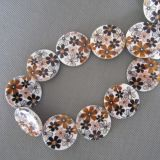 Brown Flower Shell Beads, Disc Shell Beads, Shell Pearl (SHB2008)