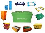 Turnover Container with Lid, Plastic Container (OEM)
