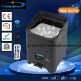 RGBW 4in1 or 6in1 LED DMX Flat Battery PAR Light, Wireless Operated Power PAR Can Light
