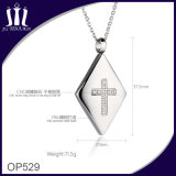 Op529 CNC Mirco Inlay Zircon 316L Stainless Steel Cross Pendant