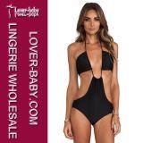 Mature Sexy Woman Black Strappy Cutout Bikini Set Swimwear Swimsuit