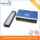 Handle and Lid Jewelry Blue Paper Packing Box (QY150019)