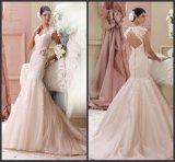 Pink Lace Wedding Dress Mermaid Cap Sleeves Wedding Gown Z627