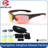 Hot Sale Vintage Wrap Around Rx Motorcycle Sunglasses Black Half Rim Frame Polarized Lens Eyeglasses Full Set for Cycling Riding