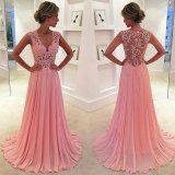 Pink Lace Party Cocktail Gowns Long Prom Evening Dresses T92434