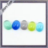 Colorful Whole Sale Oval Crystal Galss Synthetic Cat′s Eye