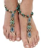 Fashion Designer Metal Rhinestone Crystal Beads Anklet Jewelry