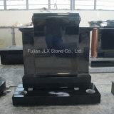 Absolute Black Granite Tombstones with Kerbing in European Style