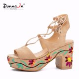 Women Lace-up Hollow-out Suede Leather High Heels Embroidery Platform Shoes