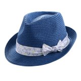 Girl′s Bow Printed Hatband Brim Crown Straw Hat