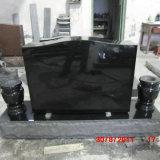 Black Granite Cemetery Upright Headstone with 2 Vases