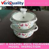 Set 2 Enamel Pots Folklore Model QC and Inspection Service at Yuyao, Zhejiang