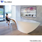 SPA Reception Desk in White Vinyl or Leather High Gloss Reception Desk Hair Salon Reception Cashier Desks