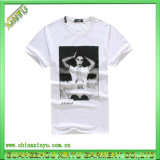 Plain White Cotton Mens T-Shirt with Girl Printed