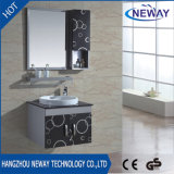Wall Mounted Ceramic Basin Stainless Steel Hotel Furniture with Mirror