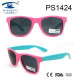 Pink Blue Double Color Kid Plastic Sunglasses (PS1424)