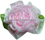 Handmade Craft Organza Flowers Bow with Leaves