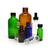 Amber, Blue, Clear Green Boston Round Glass Bottles