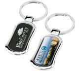 Rectangle Cmyk Printing Logo Promotion Keychain with Enamel Coating (F1136)