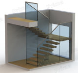 Customized Staircase Glass Railing & Wooden Step Detail