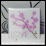 4mm Clear Tempered Glass Coaster with Decal Pattern