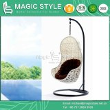 White Patio Swing Chair Modern Outdoor Hammock with Wicker (Magic Style)
