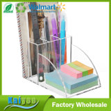 Clear Acrylic Desktop Office Supplies Organizer for Note Pad Holder, Mail Storage & 3 Pencil Slots