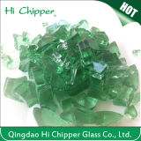 Green Colored Decorative Tempered Glass Chips for Fireplace
