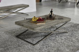 Modern Imitated Wood Top Stainless Steel Coffee Table Living Room Furniture