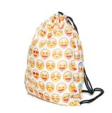 Emojis Drawstring Backpack Bags with Polyester Material Sport String Sling Bag for Kids Teens - Green