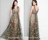Flowers Lace Evening Dress A-Line Sexy Prom Dress Z214