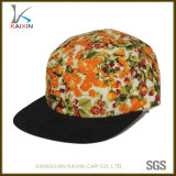 Custom 100% Cotton Yellow Floral 5 Panel Snapback Hat Blank