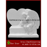 White Marblecarving Tombstone Granite Angel Statue for Tombstone Monument