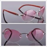Wood Arms Rimless Glasses Pink Lens