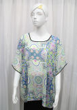 Lady Fashion Printed Polyester Chiffon Silk T-Shirt (YKY2218)