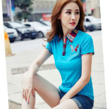 Wholesal Fashion Short Sleeve Customize Polo Shirt 100% Cotton Ladies