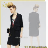 High Quality Cool Cotton Black Casual Streaight Shirt Dress