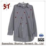 Custom Fashion Clothing Ladies Striped Embroidered Shirts
