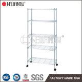 Multifunction 5 Tiers Light Duty Storage Rack Chrome Steel Wire Shelf with Nylon Wheels
