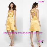 Charming Goldenrod Soft Evening Bride Dress with V-Neck