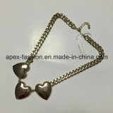 Big Heart-Shaped Glass Necklace with Metal Fashion Jewelry