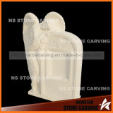 White Marble Angel Headstone in Tombgrave