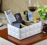Faux Leather Spinning Remote Control Organizer