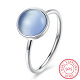 925 Sterling Silver Blue Zircon Round Finger Ring Fashion Jewelry for Young Girl
