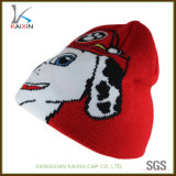 Red Jacquard Dog Pattern Beanie Knitted Hat for Kid and Children