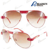 High Quality Metal Sunglass Eyewear with Leather Decoration and Nylon Lens (SM606047)