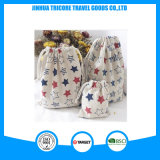 Printed Five- Pointed Star Hand-Made Natural Cotton Christmas Gift Drawstring Bag