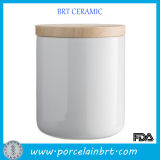 Hot Sale Ceramic Caniser with Wooden Lid